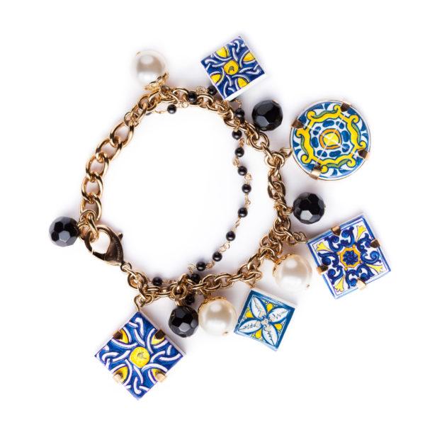 Majolica charm bracelet