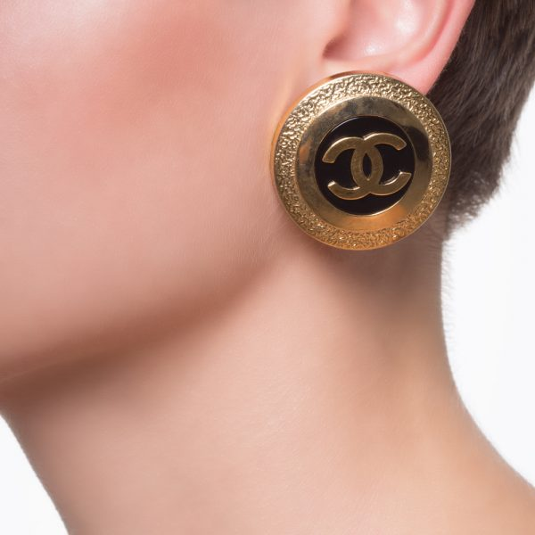 Vintage black earrings Chanel
