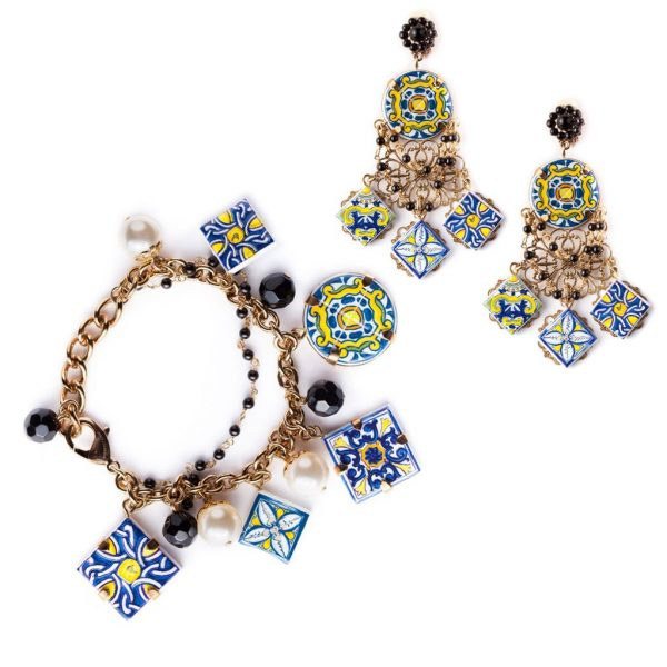 Majolica bracelet and earrings