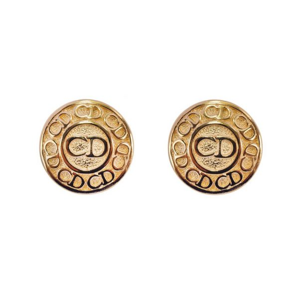 Vintage Circular Logo Earrings Christian Dior