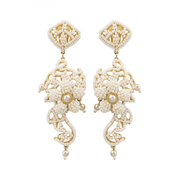Haute couture white pearl earrings