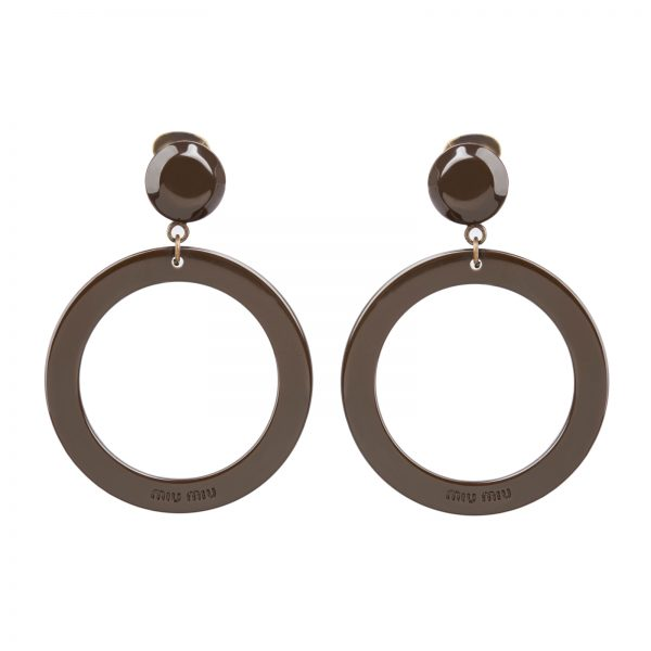 Plexi brown hoop earrings Miu Miu
