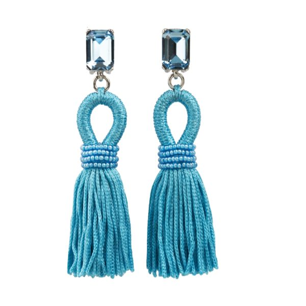 Blue Tassel earrings Oscar de la Renta