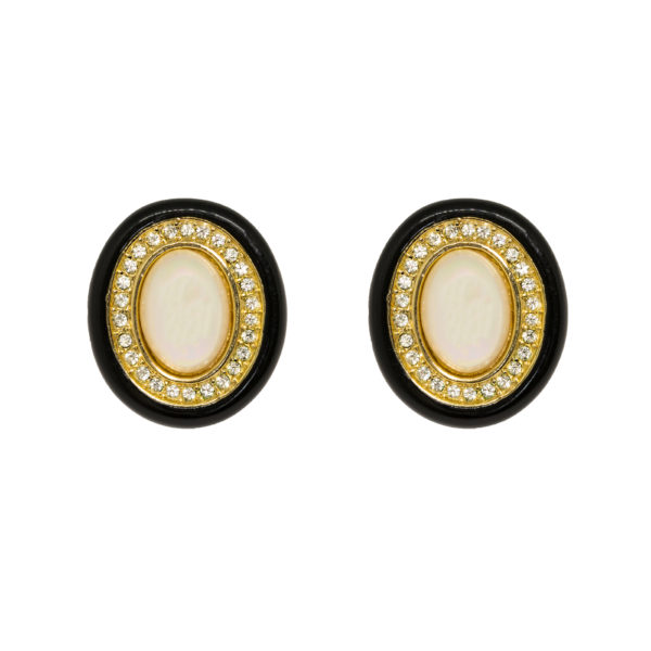 Vintage Black Enamel Pearl Earrings Dior