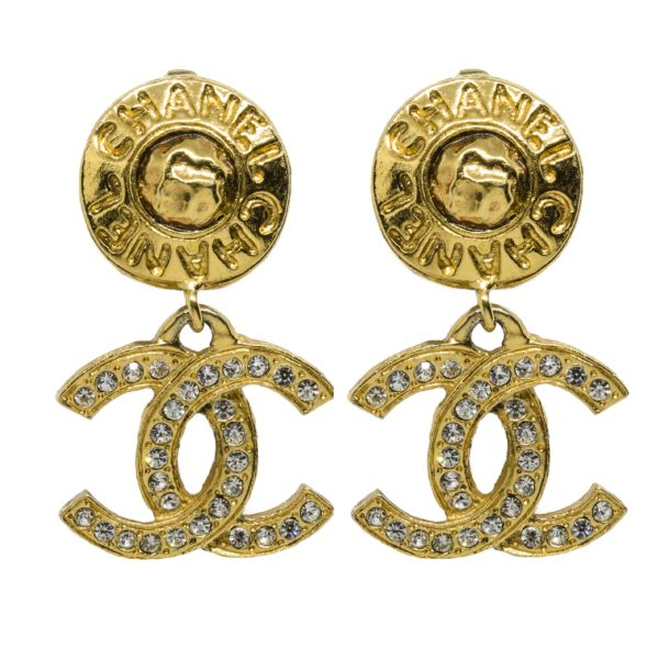 Vintage Word Round CC Earrings Chanel