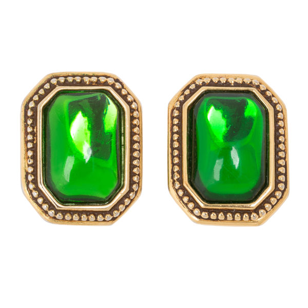 Vintage green cabochon earrings YSL