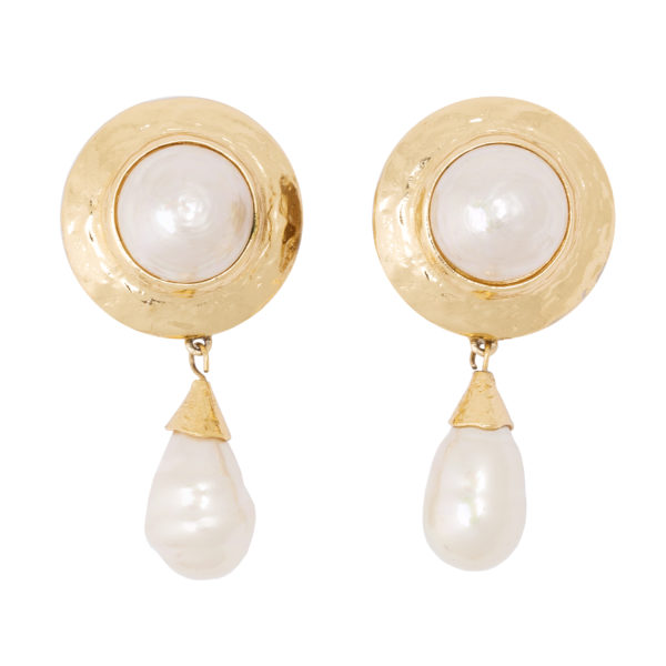 Vintage pearl dangle earrings YSL
