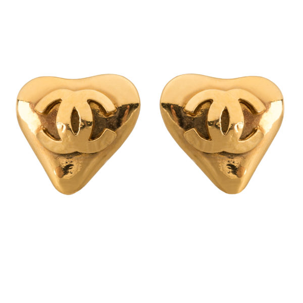 Vintage gold heart earrings Chanel
