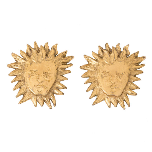 Vintage sun face gold earrings