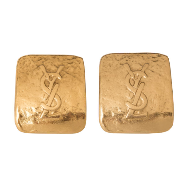 Vintage logo square earrings YSL