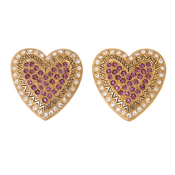 Vintage pink crystal heart earrings