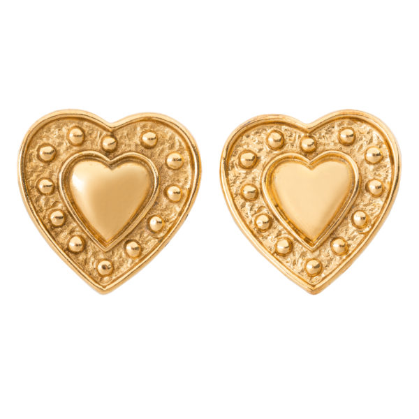 Vintage gold heart earrings