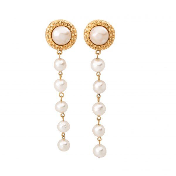 Vintage long rope pearl earrings