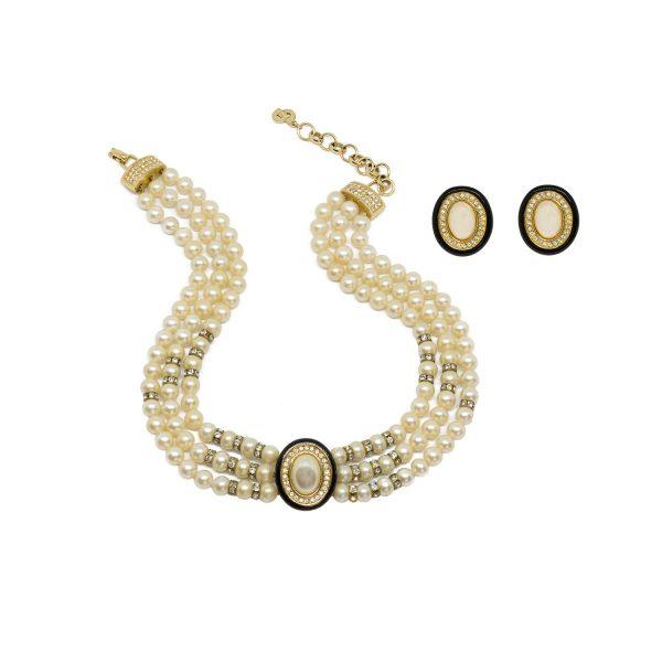 Vintage black enamel pearl set