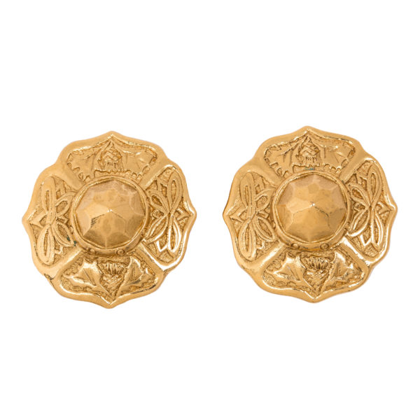 Vintage gold round earrings YSL