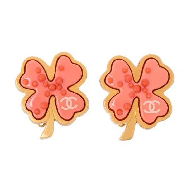 Pink Four-leaf Clover Earrings