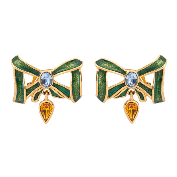 Vintage green bow earrings