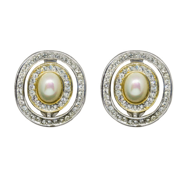 Vintage silver pearl earrings