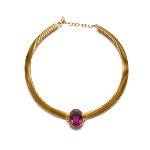 Vintage purple stone gold necklace