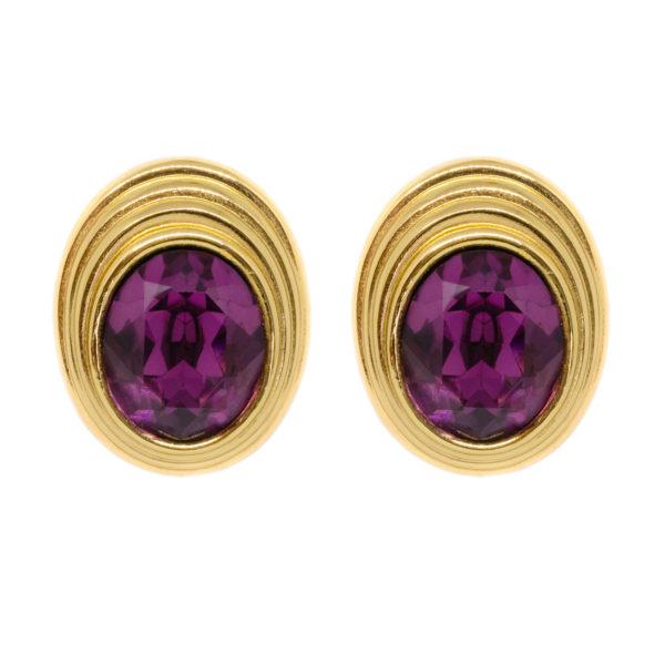 Vintage purple stone gold earrings