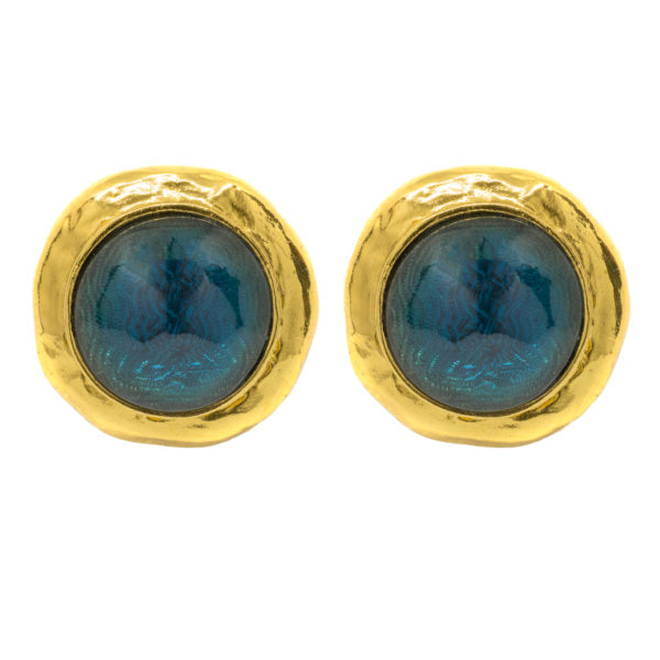 Vintage blue stone round earrings YSL