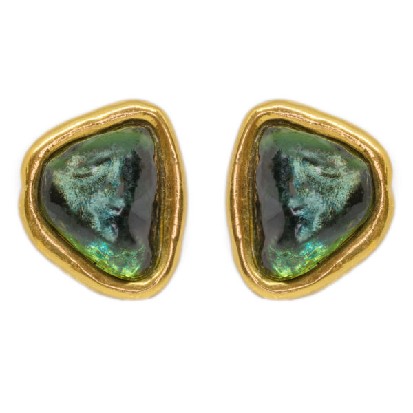 Vintage green stone shape earrings YSL