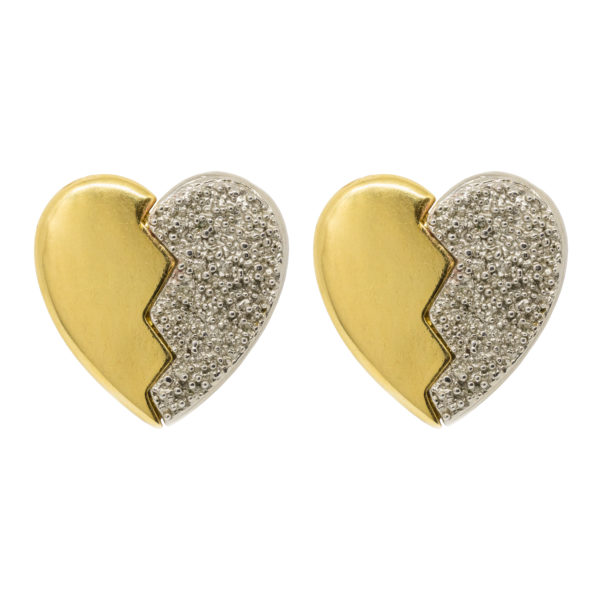 Vintage broken heart earrings YSL