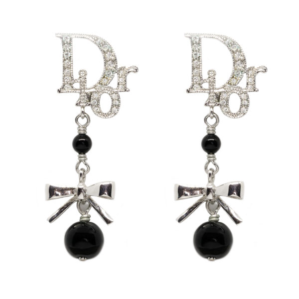 Black ribbon dangle earrings