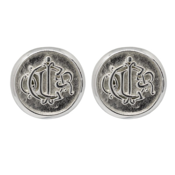 Silver logo emblem round earrings