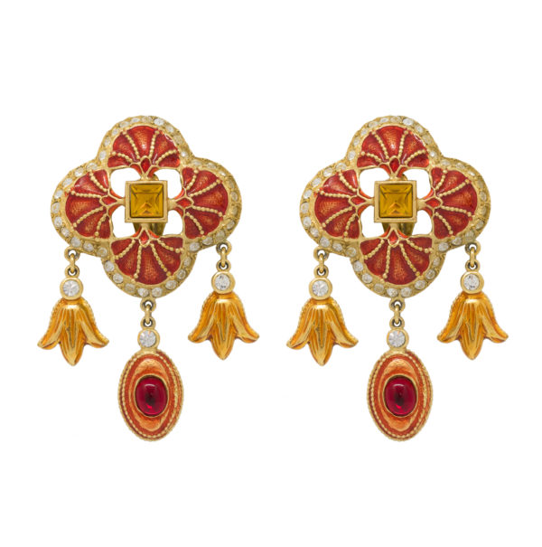 Vintage red ornament earrings