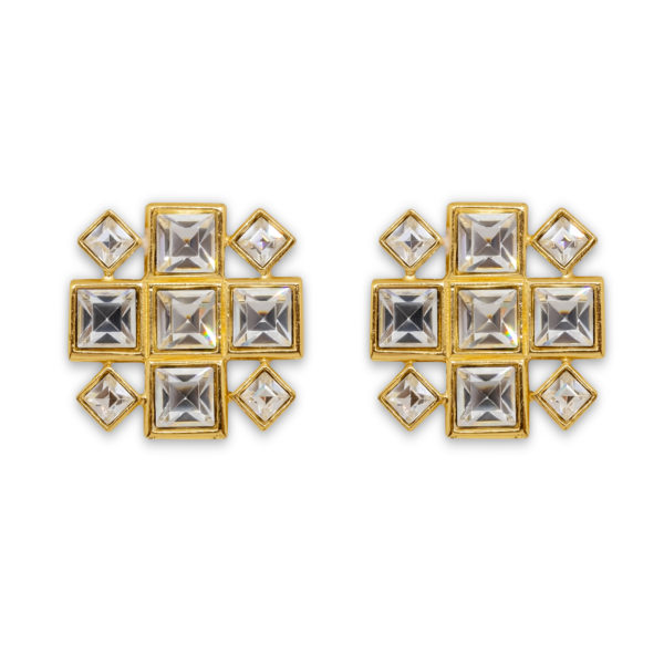 Crystal square earrings