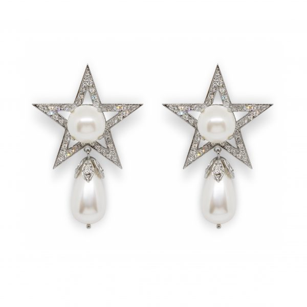 Star drop pearl earrings