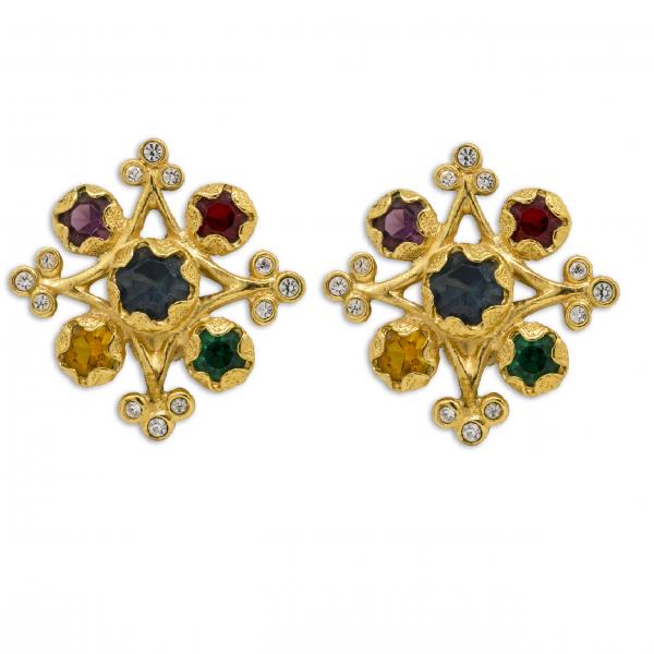 Vintage multi coloured Stone Earrings