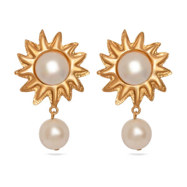gold sun white pearl earrings