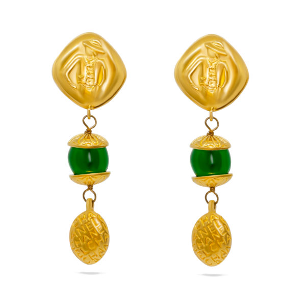 Medemoiselle Green Stone Earrings Chanel