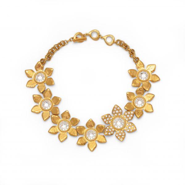Vintage crystal stone flower necklace