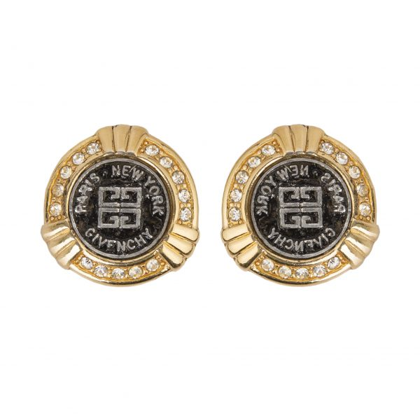 Vintage black logo button earrings