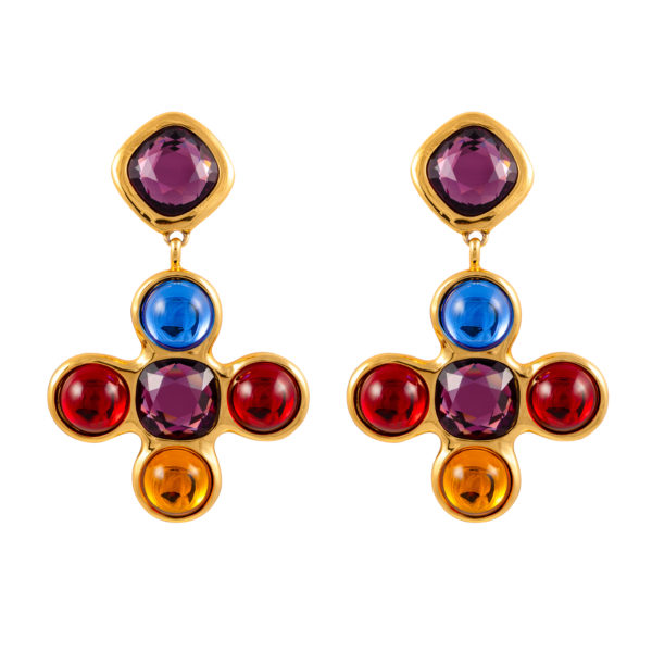 Vintage Jewelled Cross earrings Robert Goossens