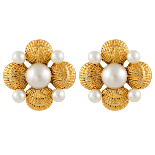Vintage Gold Sea Shell & Pearl Flower