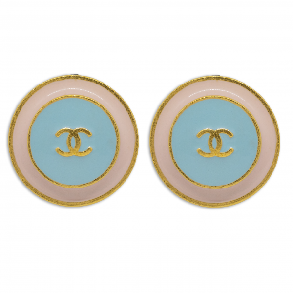 Vintage pastel CC Round Earrings Chanel