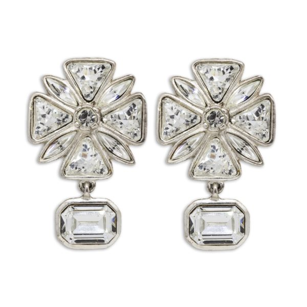 Vintage Maltese Cross Rhinestone Earrings YSL
