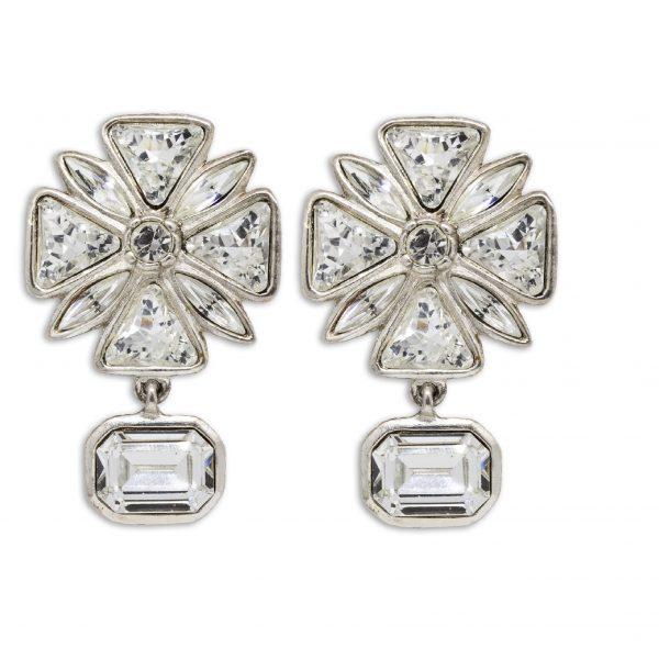 Vintage Maltese Cross Rhinestone Earrings