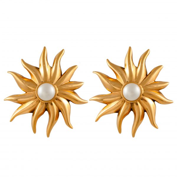 Vintage sun earrings with pearl