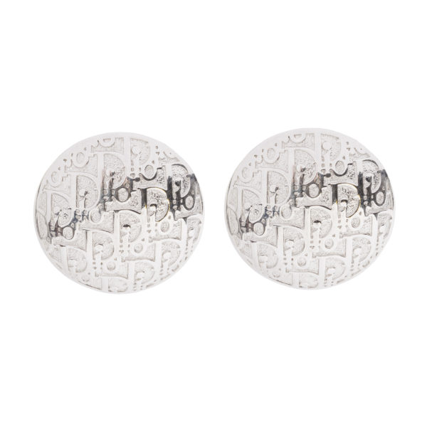 VINTAGE TROTTER SILVER DISC EARRINGS DIOR