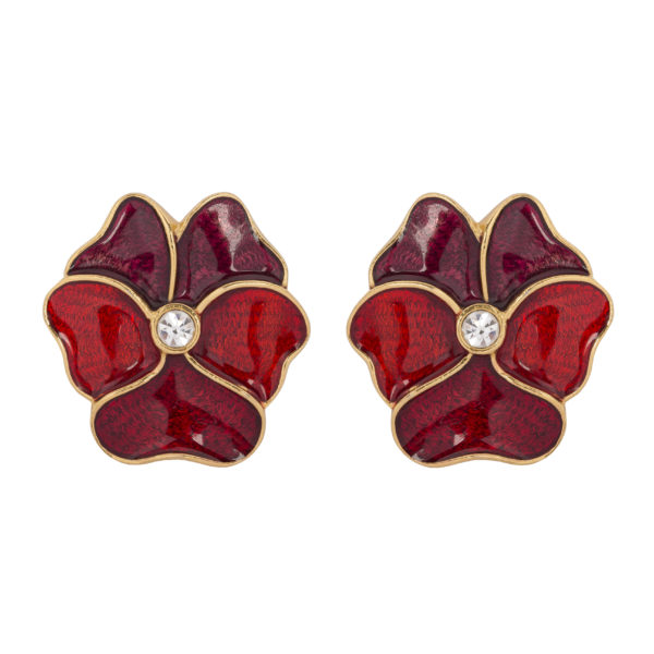 Vintage RED Enamel Pansy Earrings