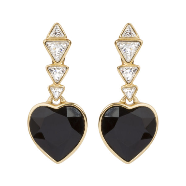 VINTAGE JET CRYSTAL HEART EARRINGS