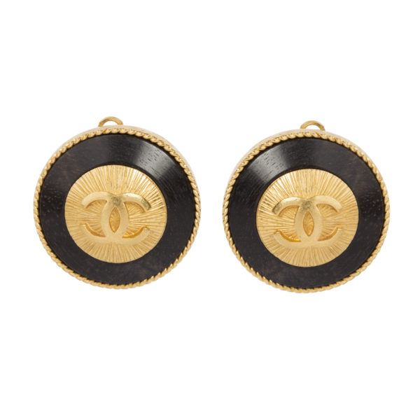 Vintage CC Button Earrings Chanel