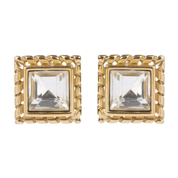 Vintage crystal square earrings
