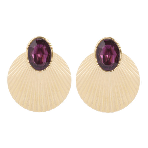 Vintage purple stone shell earrings