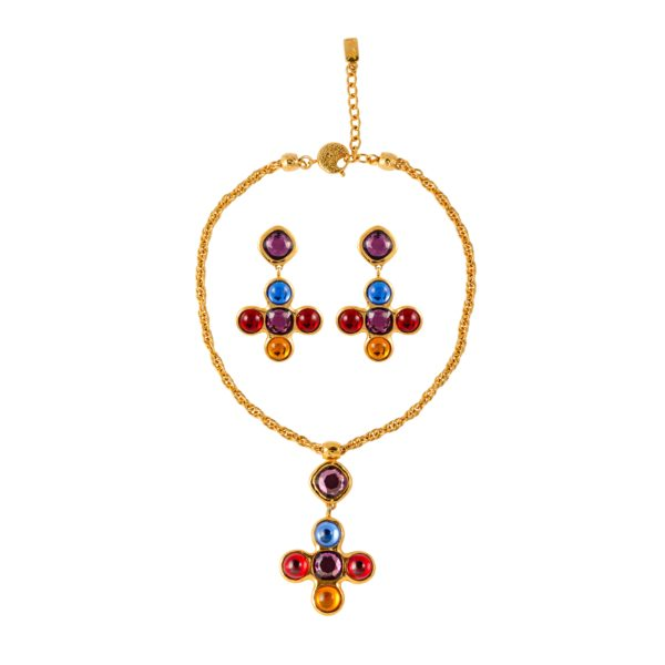 Vintage multicoloured jewelled cross set